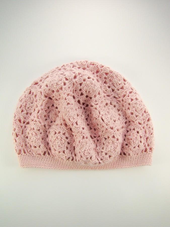 Labai romantiška, nerta rausva kepurė iš alpakų vilnos ir šilko