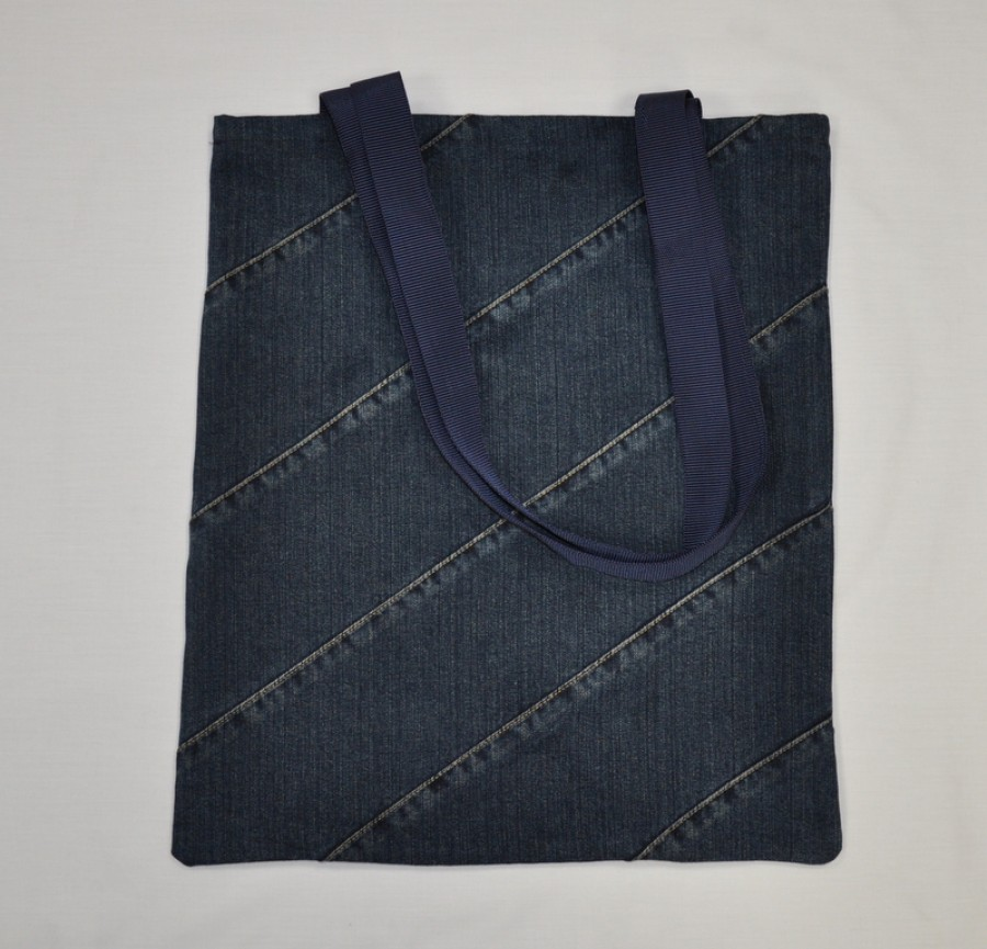 Recycled  dark blue denim shopping bag