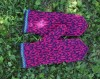 "Original, woollen, hand knitted mittens ""Raspberry Juice"""