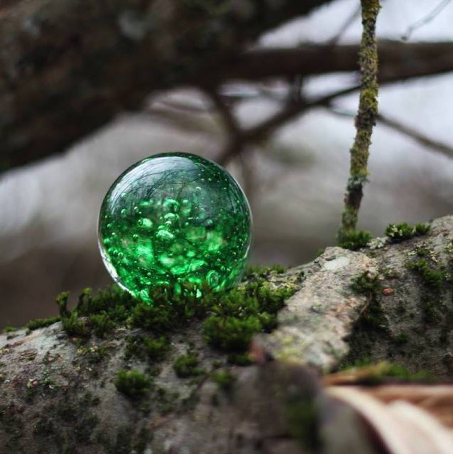 Clear green glass paperweight