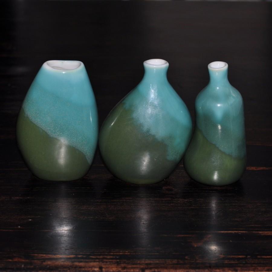 Keraminių žalių vazelių trio