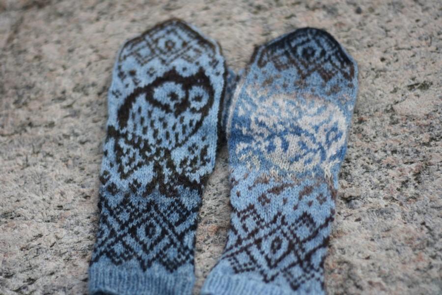 """Woolen Unique Mittens """"Moon Owl"""""""